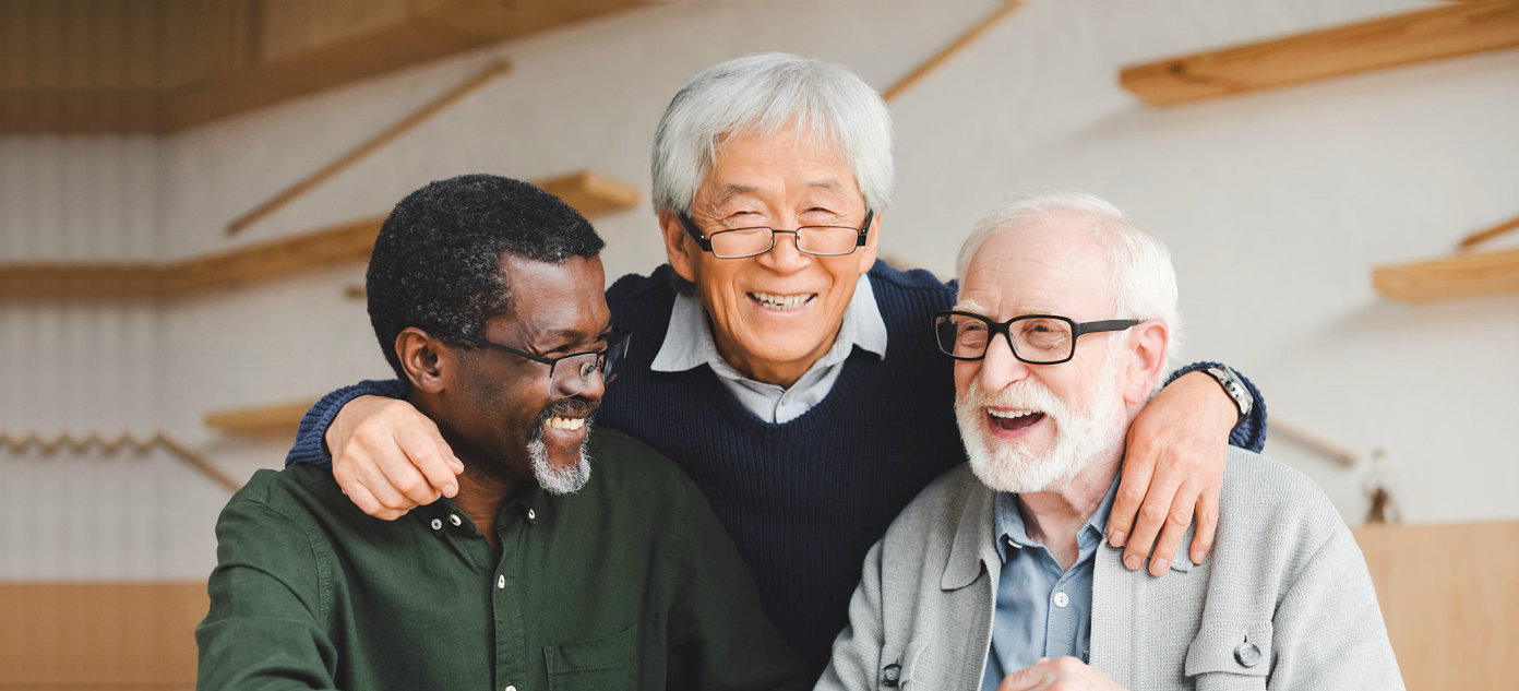 three happy people